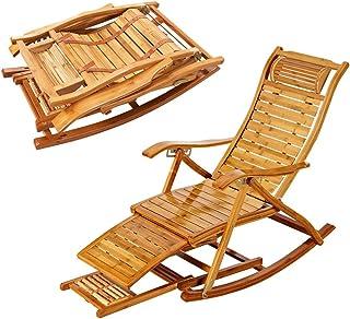 SPARROW Mecedora de bambú Tradicional de Hogares reclinable Plegable Balcón Jardín Ocio sillón Individual (Color : Natural)