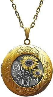 Sunflower Locket Necklace SMALL Sunflower Jewelry Sunflower Locket Pendant Silver Sunflower Charm Flower Locket Necklace Bridesmaid Locket Necklace Flower Girl Gift,AE0107
