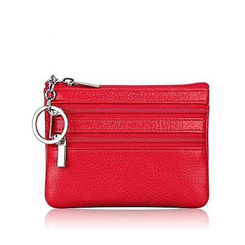 DcSpring Cartera Monedero Pequeñas Piel Genuino Slim Portatarjetas Mini Cremallera con Ilavero para Mujer Hombre (