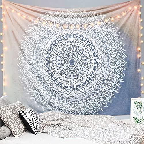 Dremisland Gris y Rosa Flor Tapiz de Pared Mandala Colgante de Pared Indio Hippie Tapices Decoración de Pared para Dormitorio Sala de Estar Toalla de Playa (Gris, L / 153 X 203 cm)