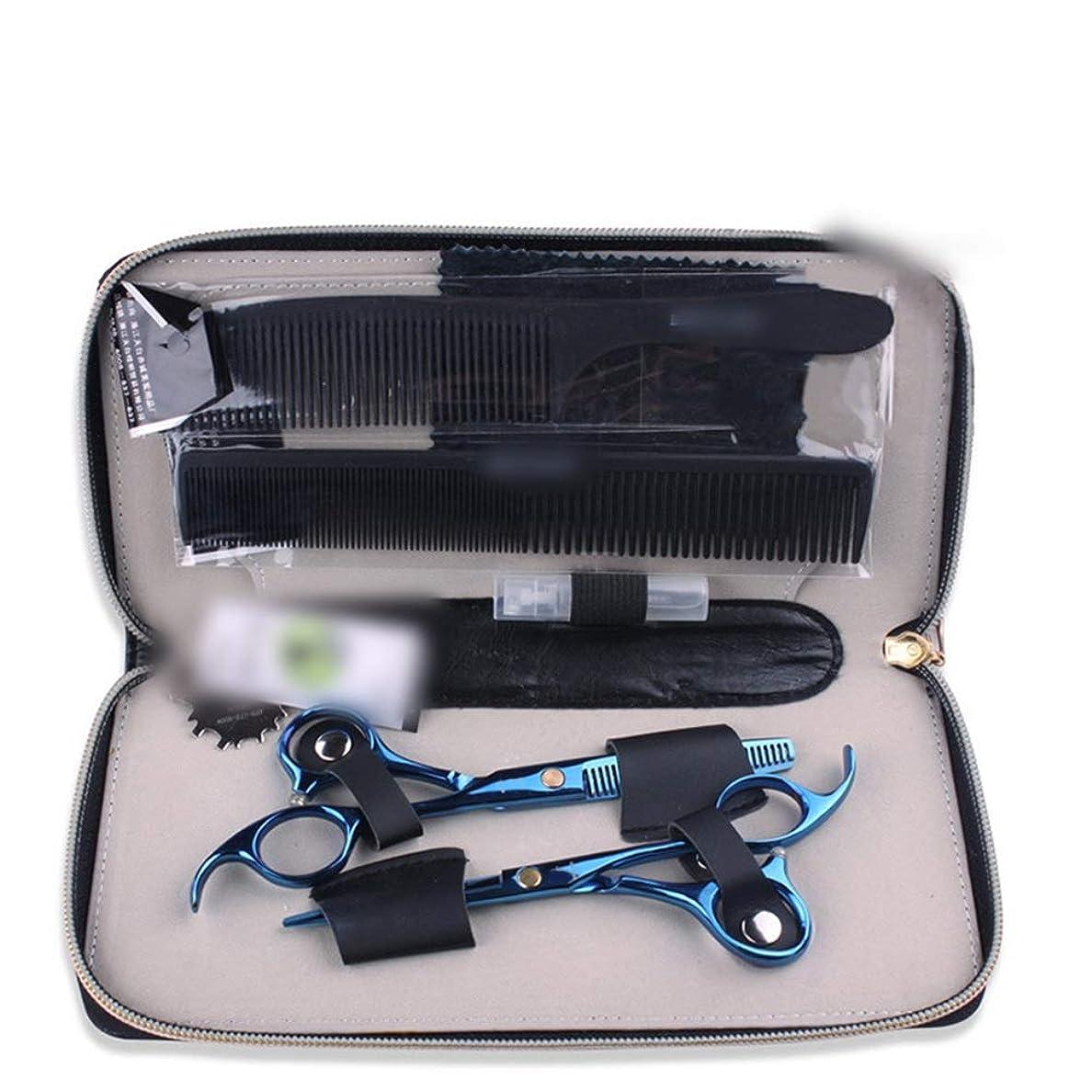 作業届ける画面青い専門のはさみ5.5インチの理髪はさみセット モデリングツール (色 : 青)