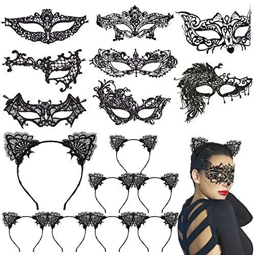 CINMOK 16TLG Katzenkostüm Damen Set 8 Venezianische Maske mit Katzenohren Haarreif Katzen Ohren Stirnbänder Reizvolle Katzenmaske Lace Masquerade Augenmaske für Fasching Karneval Halloween Weihnachten