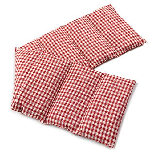 Kirschkernkissen 75x20cm groß 8-Kammer, rot-weiß - Wärmekissen, Körnerkissen für Mikrowelle und Backofen