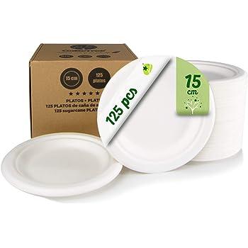 GoBeTree 125 Platos Desechables biodegradables de Papel de caña de azúcar de Ø15 cm en Caja de cartón. Platos extrafuertes de Color Blanco. Platos Redondos pequeños de bagazo.: Amazon.es: Hogar