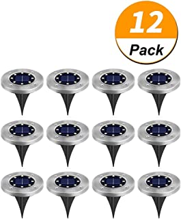 Aiwanto 12 Pack Solar Ground Lamp | 8 LED Garden Pathway Outdoor In-Ground Lights | Waterproof Disk Landscape Lighting for...