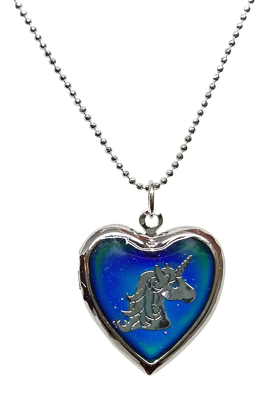Cool Jewels? Unicorn Head on Mood Heart Shaped Locket Pendant Necklace, 16 to 18 Inches