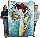 Mermaid and Octopus - Amy Brown - Cotton Woven Blanket Throw - Made in The USA (72x54)