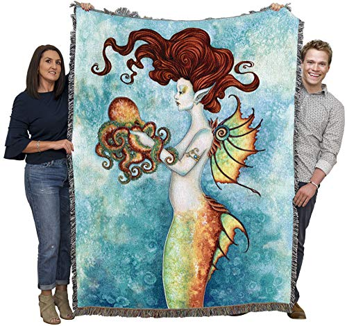 Pure Country Weavers Fantacy Mermaid and Octopus Amy Brown Blanket Throw Woven from Cotton - Made in The USA (72x54)