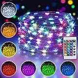 10M 100 LED Bunt Lichterkette Außen, 16 Farben USB Kupferdraht Lichterkette Innen mit Fernbedienung & 4 Modi, Farbwechsel Weihnachtsbeleuchtung...