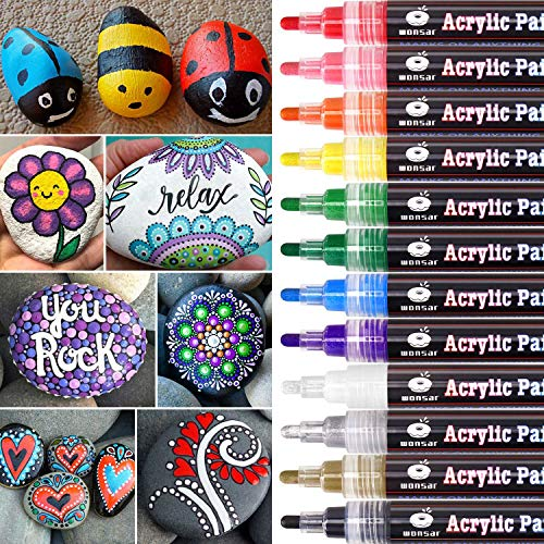 WONSAR Acrylstifte Marker Stifte, 12 Farben Wasserfest Acrylstifte für Steine Bemalen, Acrylfarben Stifte für Kinder DIY Keramik Glas Porzellan Metall Kunststoff Holz Leinwand (Medium Spitze)