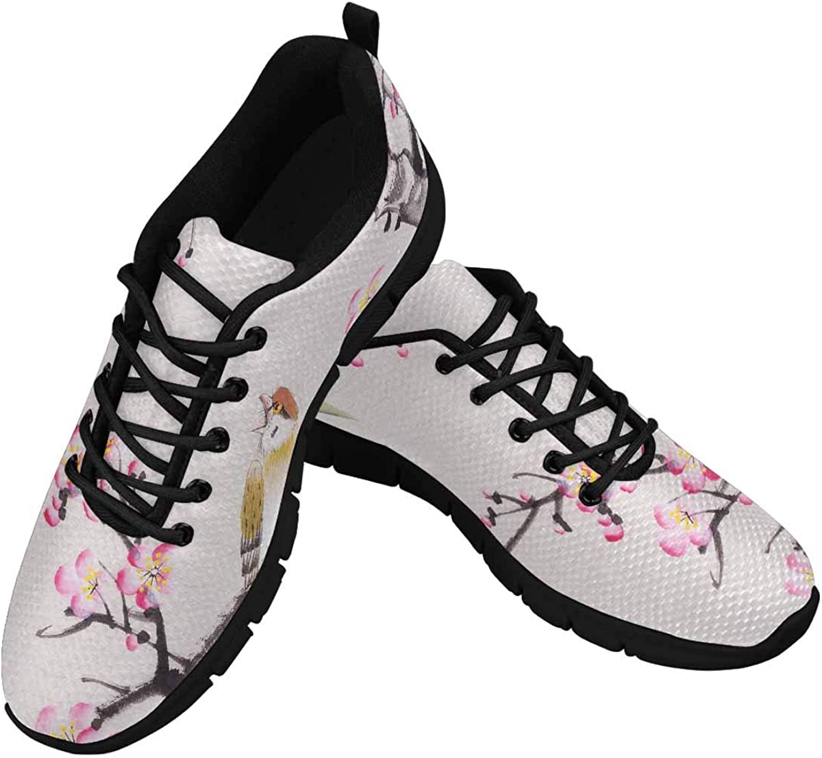 InterestPrint Chinese Painting of Flowers and Bird Women's Athletic Mesh Breathable Casual Sneaker