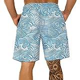 Pantalones Cortos Hombre Deporte SHOBDW Hawai 3D Impresión Verano Pantalones Cortos Playa 2021 Nacionalidad Estilo Pantalones Hombre Chandal Cordón Elástico Cortos Tallas Grandes (Blue, XXXXXL)