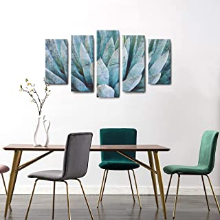 amatop 5 Piece Wall Art Large Canvas Painting Botanical Cactus Print Succulent Picture Poster Teal Agave Plant Leaves Ideal for Nature Contemporary Home Decor Stretched Ready to Hang for Living Room