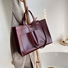 Zijie-bh Women's bags Handbag Fashion Wild Solid Color Simple Motorcycle Bag Shoulder Bag Suitable for shopping (Size : Red wine)
