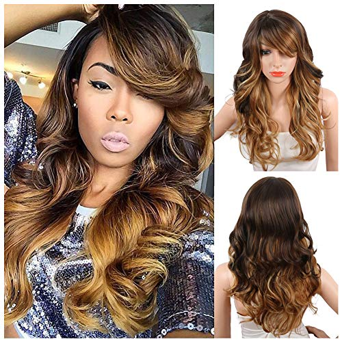 KRSI Ombre Blonde Synthetic Wigs for Black Women Long Natural Wavy Full Synthetic Hair Wigs For Women Side Parting With Bangs Heat Friendly Replacement Wigs 24 Inches Honey
