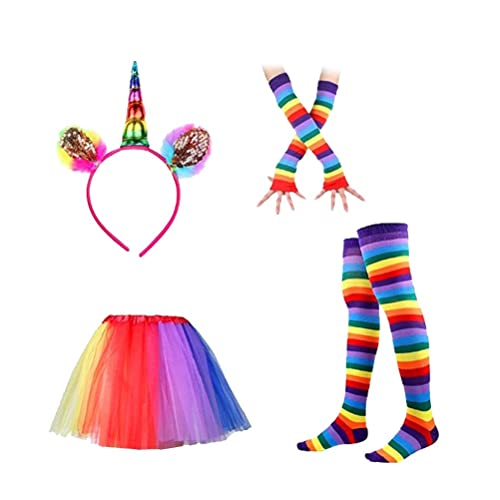 5f395220b1dfc BESTOYARD Unicorn Headband Rainbow Tutu Skirt with Striped Thigh High Socks  and Long Gloves Kids Unicorn