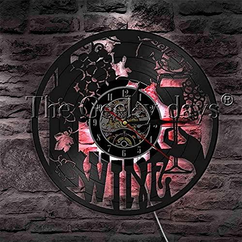ZZLLL Reloj de Pared de Vinilo Taberna Bar Bebida de Vino Disco de Vinilo Reloj de Pared Copa de Vino Botella de Cerveza Bebida Decoración Iluminación con Cambio de Color Lámpara de Pared Vintage