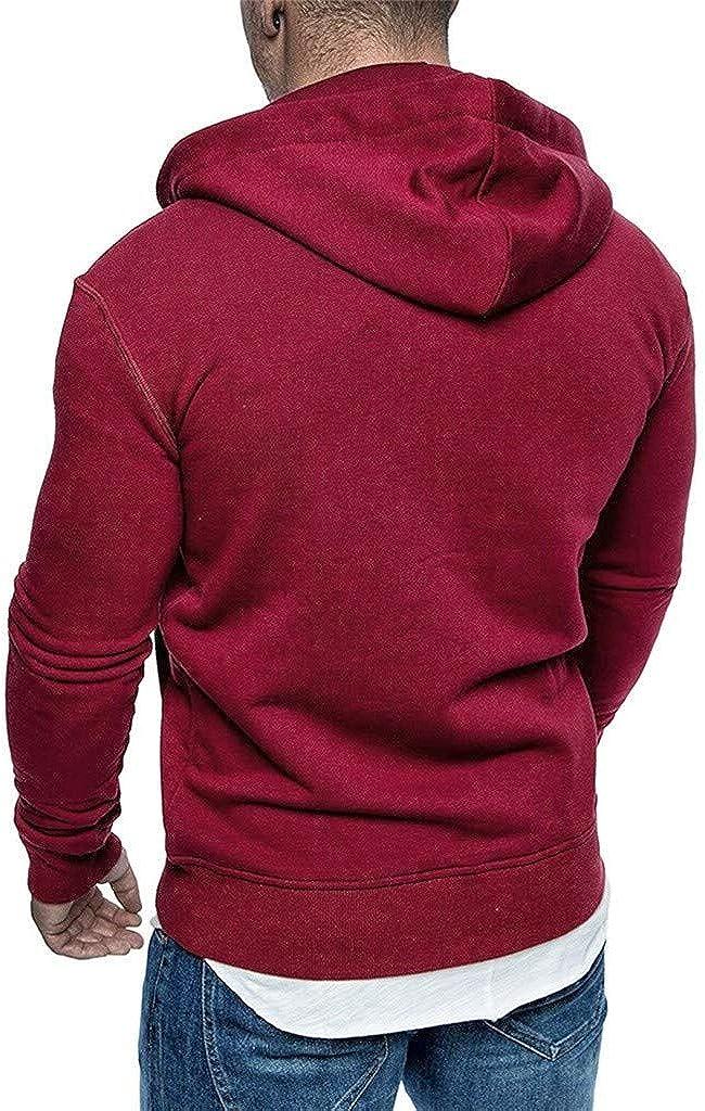 Mens Hoodies Full Zip Lightweight Slim Casual Long Sleeve Solid Hooded Pullover Sweatshirts Outwear Jacket Coats