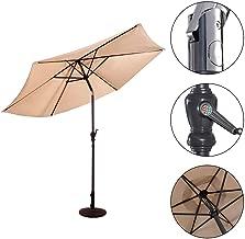NYW-Zheyangpeng 3M Garden Steel Parasol Metal Crank Patio Outdoor Sunshade Umbrella (Beige)