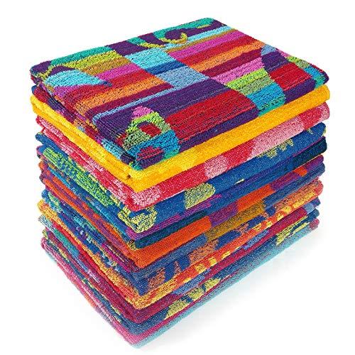 Kaufman - Terry Beach & Pool Towel 12-Pack of Assorted Designs - 30in x 60in (104700-12PK)