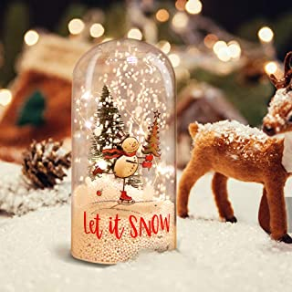 MJ PREMIER Christmas Musical Lighted Snowing Dome Shape Ornament Gift with Remote, Battery Operated Clear Glass Cloche Decoration with Snowman Decal for Home Holiday Decor Party Table Centerpieces