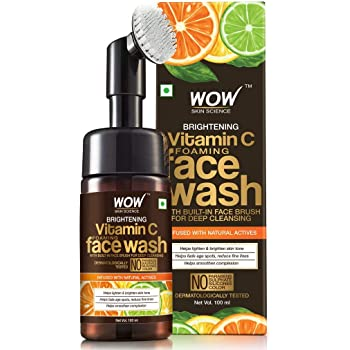 WOW Vitamin C Exfoliating Face Wash With Brush, Soft, Silicones Bristles, Foaming Cleanser For All Skin Type, Hydrate For Smooth Skin, Helps Remove Blackheads, Reduce Acne Breakout, 100ml