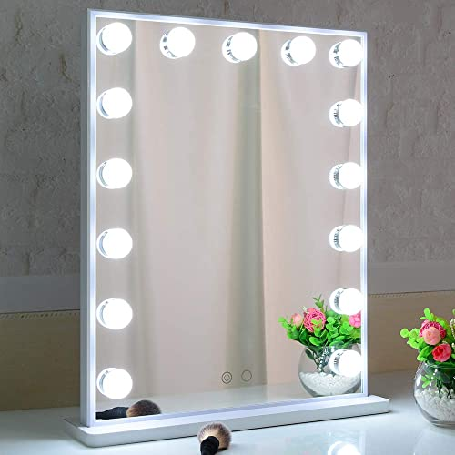 Hollywood Lighted Makeup Mirror with Lights,LED Lighted Mirror with 15pcs Dimmable Bulbs,Tabletop or Wall Mounted Dre...