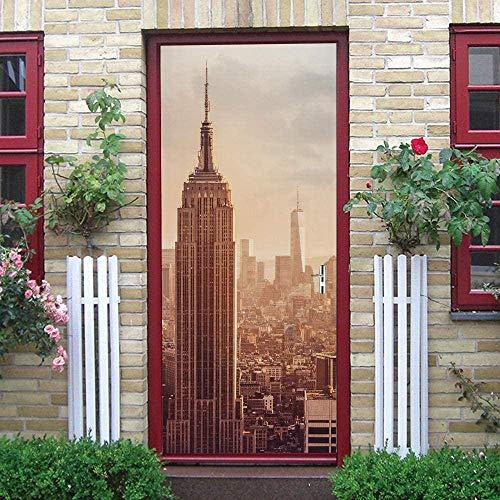 KGKBH Pegatinas de puerta 3D Nueva york puesta de sol ciudad paisaje 95x215cm Creativo mural de puerta Vinilo Impermeable Autoadhesivo Removible Papel Tapiz PVC Sala De estar Cuarto De Murales Posters
