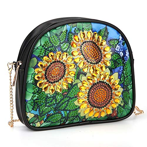 DIY 5D Diamond Painting Crossbody, Sunflower Pattern, Special Shaped Drill Cross Stitch Leather Shoulder Bag Handbag Purse Tote Storage Bag for Girl Women Art Craft Decor