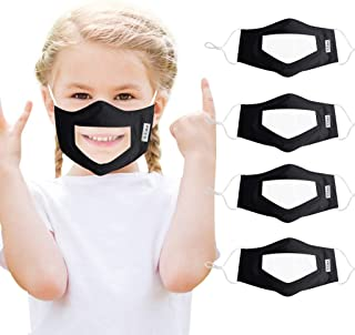 4 Pcs Transparent Face Coverings With Clear Window Visible Expression for Deaf and Hard of Hearing