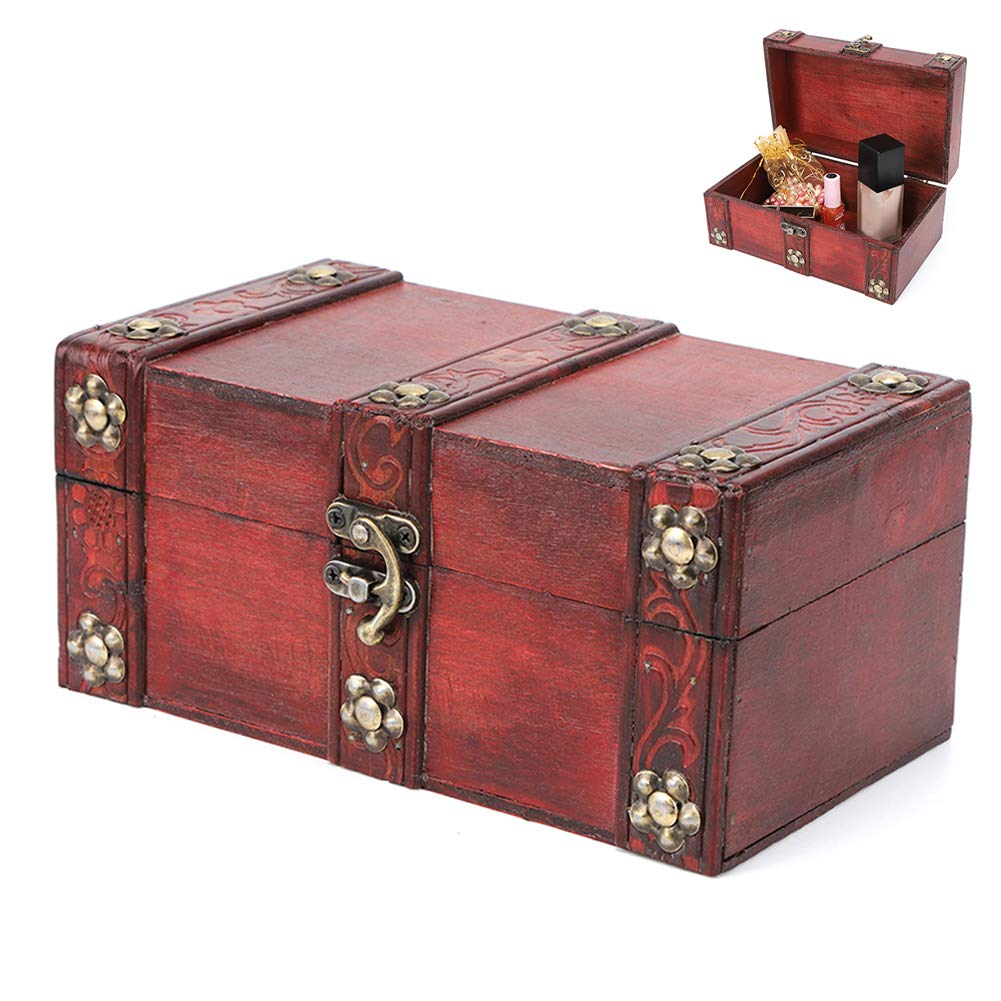 Atyhao Caja de Almacenamiento Vintage, Cofre Decorativo de Cuero de Madera Artesanal Hecho a Mano Caja de Almacenamiento de Madera Antigua a Prueba de Polvo Caja de colección Artesanal con diseño(S): Amazon.es: