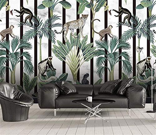 Mural pintado a mano mural de papel tapiz de fondo grande para dormitorio de animales de selva tropical-250X175cm