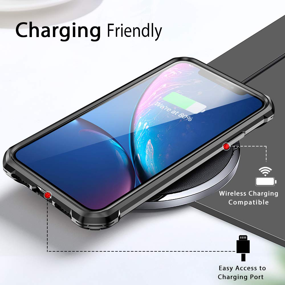 iPhone XR Case with [ Screen Protector Tempered Glass x2Pack]SUPBEC Protective Phone Cover with Silicone PC+TPU Shockproof Rubber Heavy Duty Case for iPhone XR Cases-Clear Black