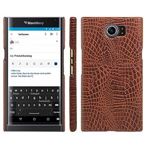 HualuBro BlackBerry Priv Hülle, [Ultra Slim] Premium Leichtes PU Leder Leather Handy Tasche Schutzhülle Case Cover für BlackBerry Priv Smartphone (Braun)
