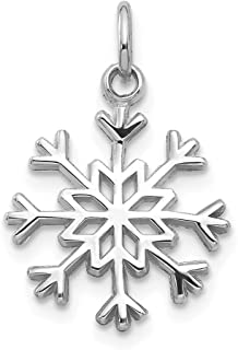 14k White Gold Snowflake Pendant Charm Necklace Winter Fine Jewelry Gifts For Women For Her