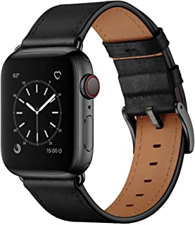 OUHENG Compatible with Apple Watch Band 38mm 40mm, Genuine Leather Band Replacement Strap Compatible with Apple Watch Series 5/4/3/2/1 40mm 38mm, Black Band with Black Adapter