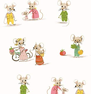 Windham Fabrics Heather Ross Country/City Mouse White Fabric Fabric by the Yard