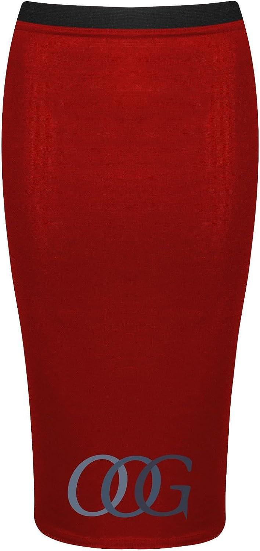Womens Ladies Midi Pencil Plain Striped Stretch Bodycon High Waisted Tube Skirt