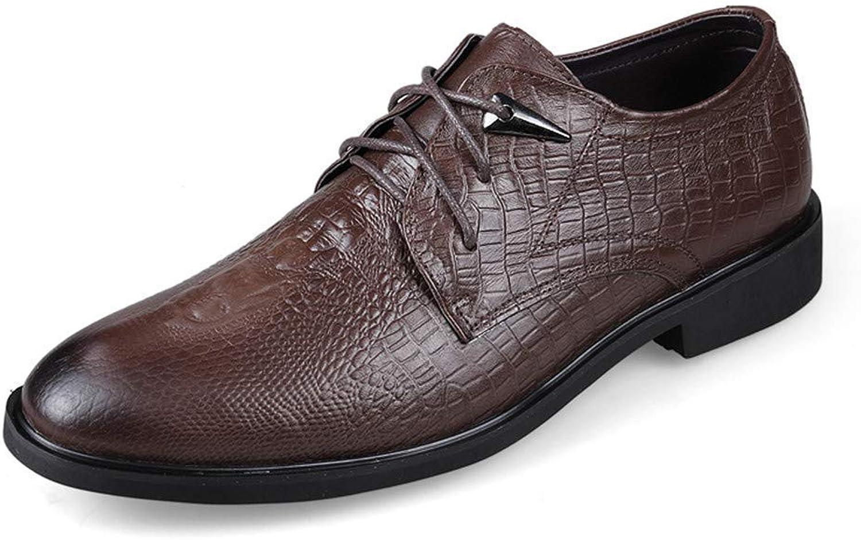 FuweiEncore 2018 Men's Business Oxford Casual Simple Classic Crocodile Round Head Tie Formal shoes (color  Light Brown, Size  43 EU) (color   Dark brown, Size   45 EU)