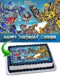 Cakecery Transformers Optimus Prime Bumblebee Edible Cake Image Topper Personalized Birthday Cake Banner 1/4 Sheet