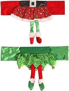 Decoración de Fundas de Silla de Navidad,JPYH 2 Piezas Funda de Asiento de Silla de Navidad de Elf,Fundas de Silla de Comedor de Cocina para Navidad Comedor Decoración de Fiesta de cocina Adorno