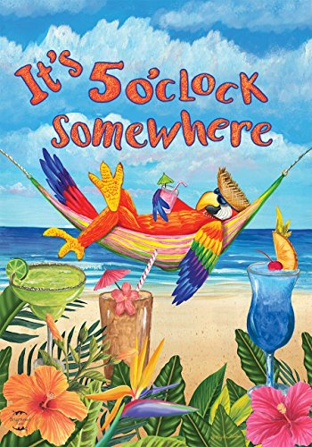 Briarwood Lane 5 O'clock Parrot Summer Garden Flag Beach Humor 12.5' x 18'