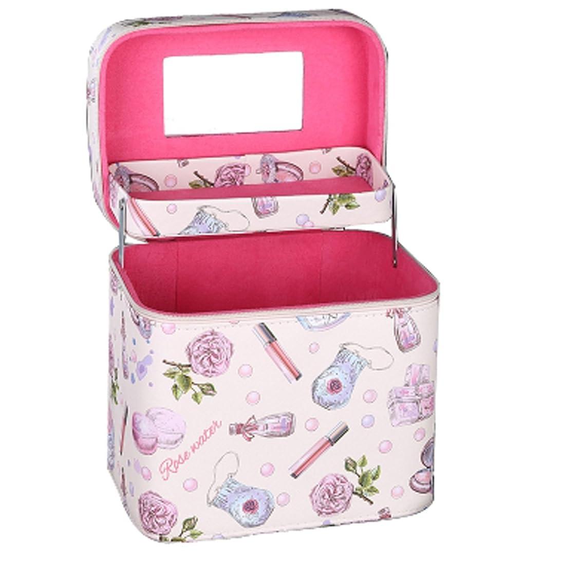 裁量鼓舞するアクセントメイクボックス プロ 人気 コスメボックス 鏡付き 大容量 かわいい 化粧ボックス 持ち運び (ピンク2層)