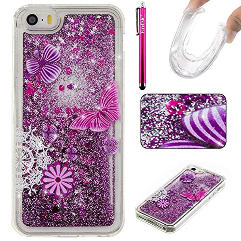 iPhone 5C Case, Firefish Slim Sparkle Shock Absorption Slim Bumper Cover Anti-Slip Soft Silicone Protective Skin for Girls Children Fits for Apple iPhone 5C -Butterfly