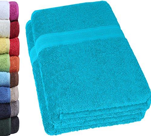 NatureMark 2er Pack DUSCHTÜCHER PREMIUM Qualität 70x140cm DUSCHTUCH Dusch-Handtuch Doppelpack Farbe: Türkis