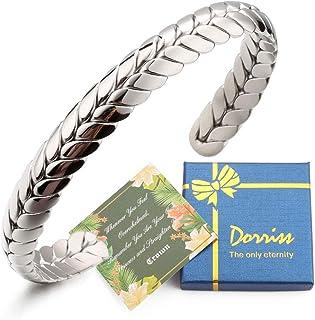 Stainless Steel Cuff Bracelet, Wide Open Adjustable Wheat...