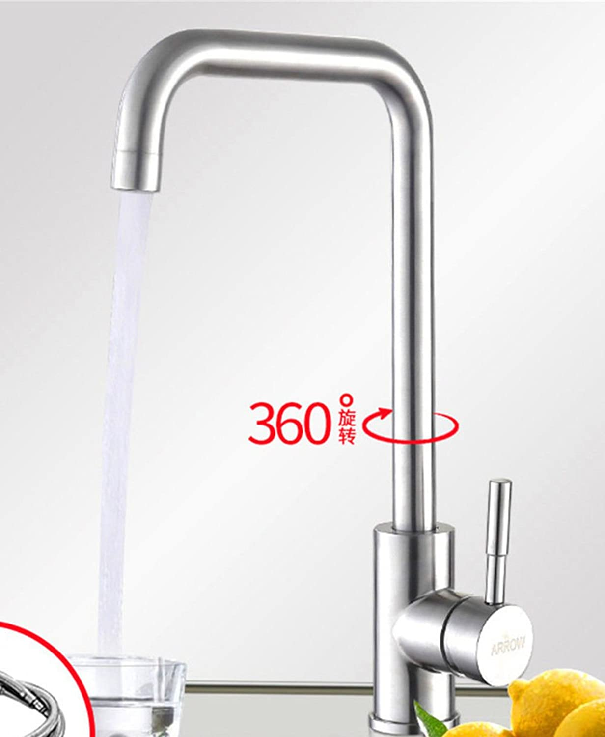 Commercial Single Lever Pull Down Kitchen Sink Faucet Brass Constructed Polished Stainless Steel Kitchen Faucet Can Be redated Hot and Cold Lead-Free Kitchen Sink Faucet