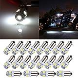 cciyu 20 Pcs T11 BA9S 5-5050-SMD LED White Light Bulb Car 12V Lamp T4W 3886X H6W 363