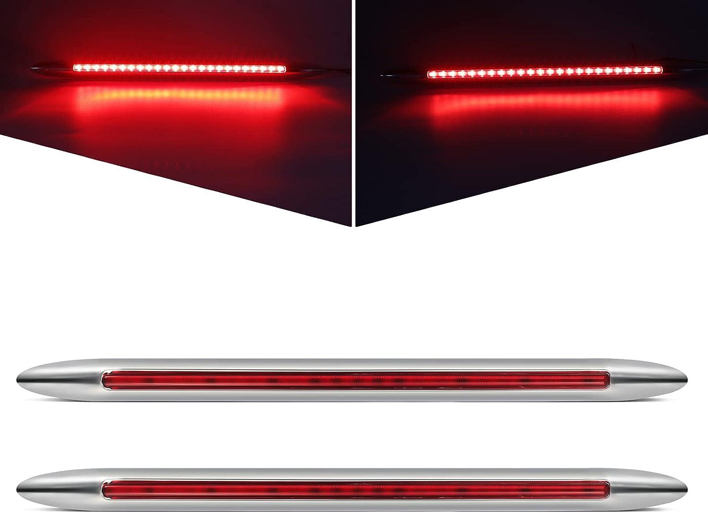 Partsam 2Pcs 17 Inch Chrome Flat Line Led LED 70% Sale item OFF Outlet Red Bar Light 24