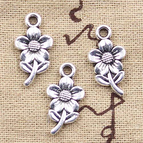 WANM 10Pcs Charms Sunflower Flower 21X11Mm Tibetan Silver Color Pendant Findings Accessories Diy Vintage Choker Handmade Jewelry Alloy Pendant